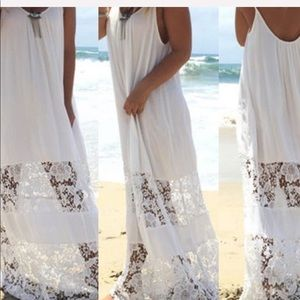 BOHO LACE MAXI BEACH DRESS COVER-UP BLACK / WHITE